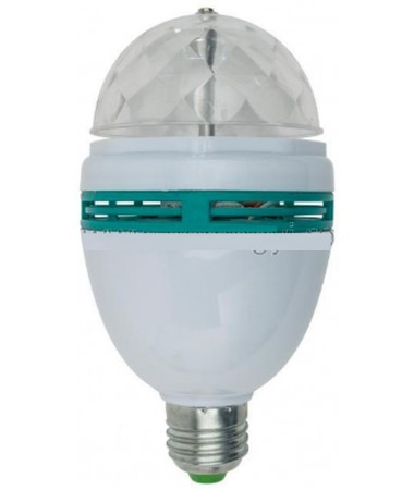 Lampă disco cu LED, 3W, E27 , ROTATIV,  TREI CULORI,